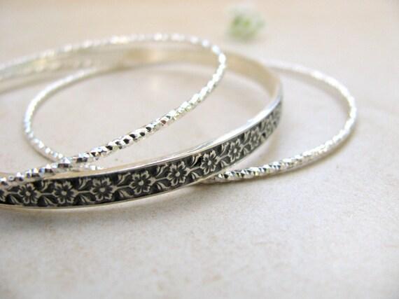 silver bracelet, silver bangle, stacking sterling silver bangles, stack bracelets, flowers bracelet, engraved bracelets, bracelet set