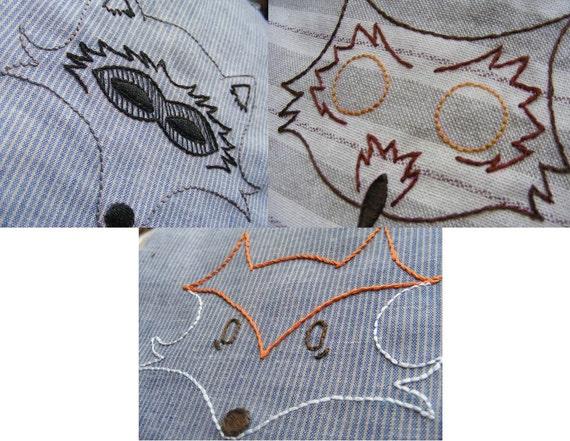 Animal Embroidery Pattern trio - Fox, Owl, Raccoon