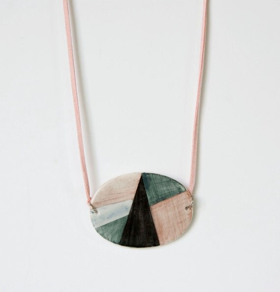 Oval ceramic geometric necklace: rose, gray and black