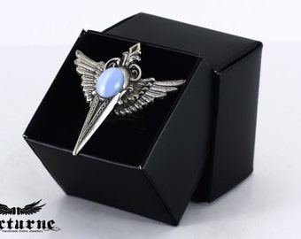 Wiccan Gothic Ring with Wings - Victorian Ring - Victorian Gothic Jewelry