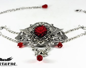 Gothic Crystal Choker Necklace - Statement Necklace with Red Rose Flower Cameo - Victorian Gothic Jewelry