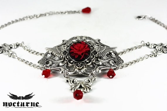 Reserved for Alura - Silver Gothic Choker - Red Rose Cameo on Black - Goth, Victorian, Lolita, Vampire - Ernelia