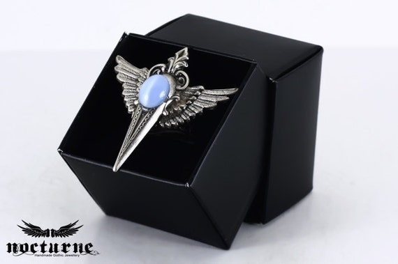 Wiccan Ring with Wings - Gothic Ring with Blue Stone - Victorian Gothic Jewelry