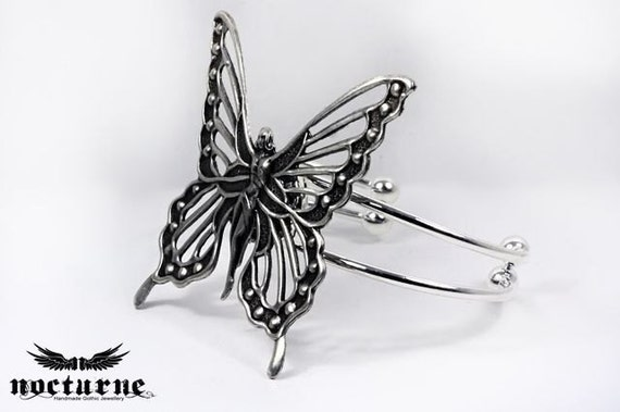 Reserved for everywitchway - Gothic Cuff, Neo Victorian, Steampunk, Lolita, Mythology,Fantasy, Cosplay, Fairy - Butterfly Cuff