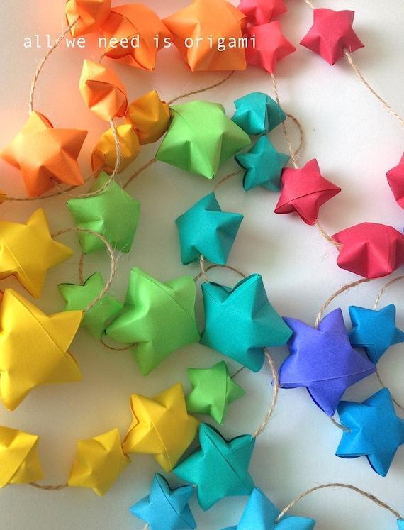 9 feet BABY NURSERY RAINBOW garland - baby decoration - rainbow stars - rainbow shower - origami garland by Allweneedisorigami on Etsy