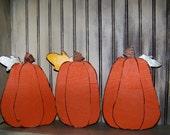 Set of 3 wood pumpkins