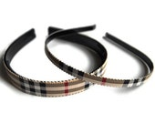 Your Choice Skinny or Medium Natural Check Preppy Plaid Hard Headband, kid, teen, adult - Front page of Etsy