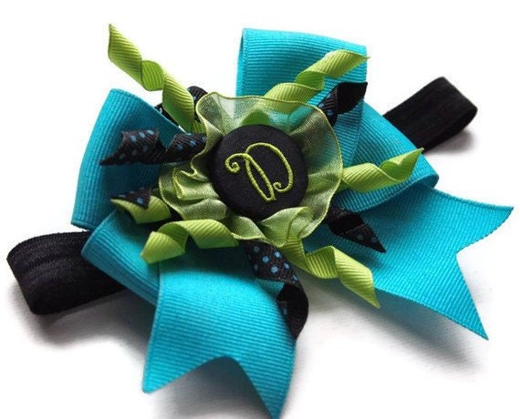 Turquoise/Black/Lime Monogram D Korker Bow Elastic Headband Clip Barrette for infant, toddler, photo prop