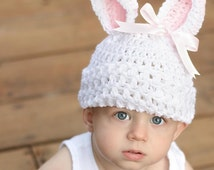Toddler Bunny Hat, Easter Photo Prop, 12 Month Hat, Toddler Hat, Baby Bunny Hat, Crochet Easter Hat, Rabbit Hat, Easter Prop, Bunny Hat