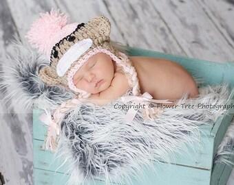 Newborn Sock Monkey Hat, Newborn Photo Prop, Newborn Girl Prop, Hat With Braids, Hat With Earflaps, Newborn Crochet Hat, Baby Girl Hat