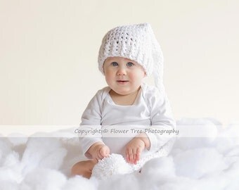 Pom Pom Hat, Photography Prop Hat, White Crochet Hat, Mr Sandman Hat, Long Tail Hat, Stocking Cap, Infant Pom Pom Hat, Elf Hat, 6 Month Hat