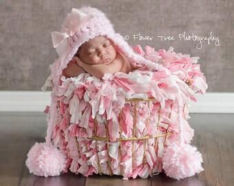 Newborn Pom Pom Hat, Pink Fuzzy Hat, Hat With Earflaps, Hat With Braids, Newborn Photo Prop, Hat With Bow, Pink Newborn Hat, Infant Hat