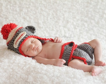 Newborn Sock Monkey Hat And Diaper Cover Set, Newborn Photo Prop, Crochet Sock Monkey, Infant Sock Monkey Hat, Newborn Diaper Cover, Monkey