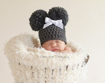 Newborn Charcoal Gray Double Pom Pom Hat, Newborn Photo Prop, Crochet Infant Hat, Newborn Girl Hat, Baby Hat With Bow, Warm Winter Hat