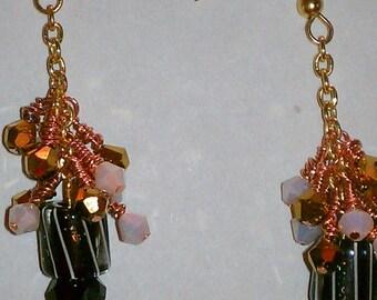 Swarovski Cluster Earrings Black and White