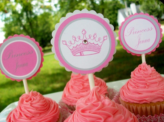 Princess Party-Cupcake Toppers-Set of 12  NOT PRINTALBE