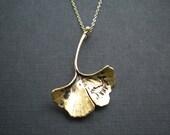Gold Ginkgo Leaf Pendant Necklace