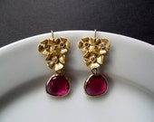 Gold Pansy Earrings with Cubic Zirconium and Fuchsia Glass Briolettes