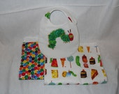Very Hungry Caterpillar set- 2 burp cloths, 1 bib