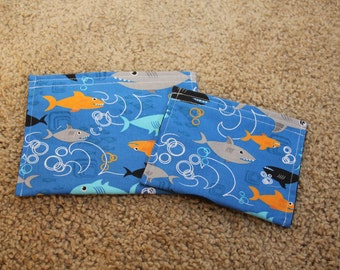 Reusable Sandwich and Snack Bag Combo-Sharks