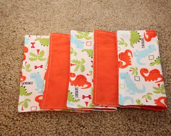 FIVE Cloth Napkins--Kid Size--Dinosaurs