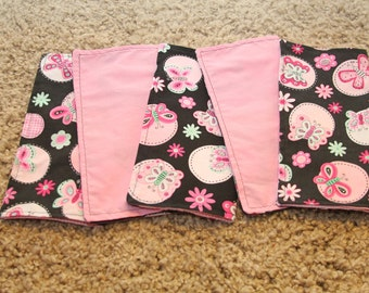 FIVE Cloth Napkins--Kid Size--Butterfly