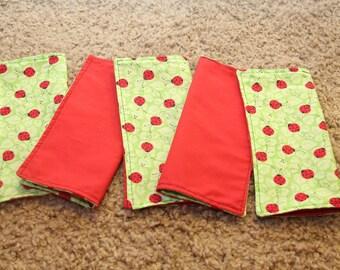 FIVE Cloth Napkins--Kid Size--Ladybugs