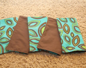 FIVE Cloth Napkins--Kid Size--Turquoise Leaf
