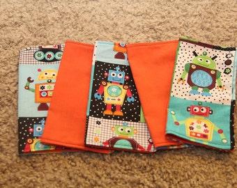 FIVE Cloth Napkins--Kid Size--Robots with Orange