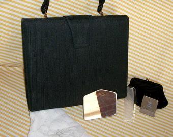 Vintage Palizzio Black Dupioni Handbag