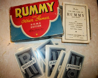 RUMMY and other games, very vintage Parker Brothers card game