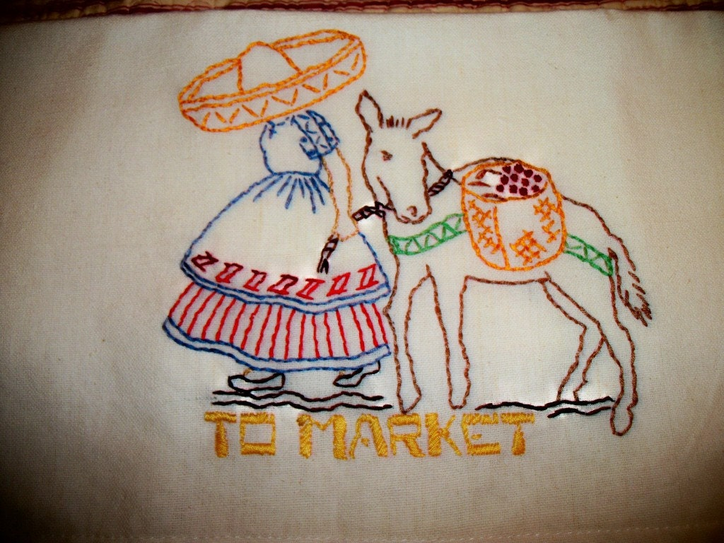 Hand embroidered mexican themed towels set of five by margfar