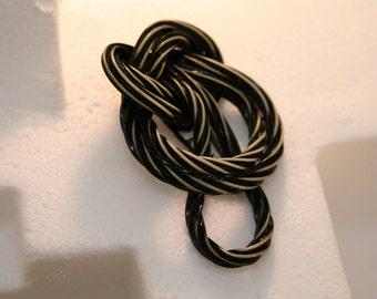 1940's clip, Black and cream licorice clip/ brooch