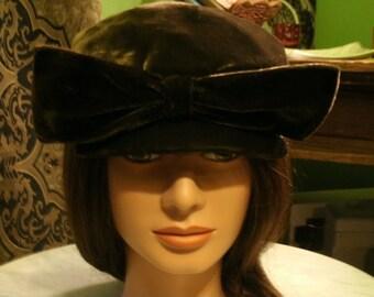 Velvet brown big bow hat
