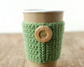 Coffee Cup Cozy, Crochet Coffee Sleeve, Reusable Coffee Cozy, Green with wooden button by The Cozy Project