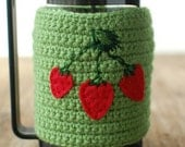 French Press cozy Green with strawberries.