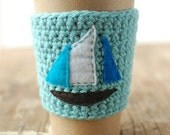 Sailboat cup cozy by The Cozy Project