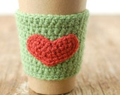 HEART CUP COZY, Coffee Cup Sleeve, Green coffee cozy, Valentine's Gift,  with red heart by The Cozy Project