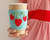 Strawberry Cup Cozy, Crochet Coffee Sleeve, Reusable Coffee Cozy, Aqua  with Strawberries  by The Cozy Project