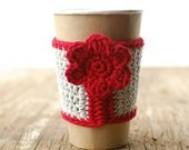 Coffee Cozy, Reusable Cup Sleeve, Gray with red flower by the Cozy Project