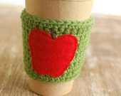 Reusable Coffee cozy, Coffee Cup Sleeve, Knit cup cozy, Teachers gift Apple Coffee cup cozy