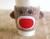 Sock Monkey Coffee cup cozy by The Cozy Project