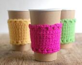Neon Cup Cozy, Crochet Coffee Sleeve, Reusable Cup Cozy, Neon Coffee Cozy by The Cozy Project
