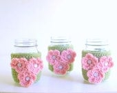 Gift Set 3 Matching Coffee Cup Cozies, Crochet Coffee Sleeve, Reusable Coffee Cozy, Green Cozies with Pink Flowers by The Cozy Project