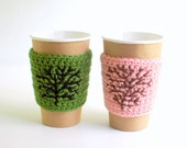 Reusable Coffee Cozies, Coffee Cup Cozy, Crochet Coffee Sleeve, His and Hers Coffee Cup Cozies with a Tree by The Cozy Project