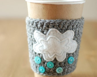 Coffee Cup Cozy, Crochet Coffee Sleeve, Reusable Coffee Cozy with clouds and rain by The Cozy Project