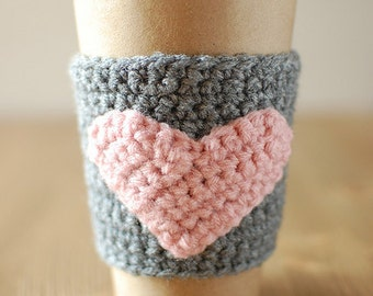 Heart Coffee Cozy. Pink with gray.