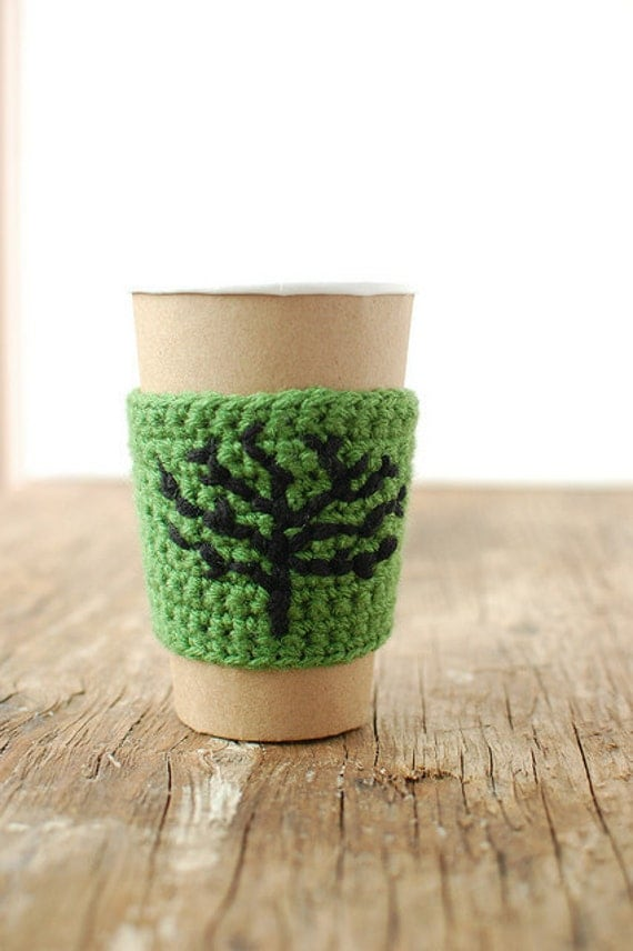 Coffee Cozy, Reusable, Green with black tree by The Cozy Project