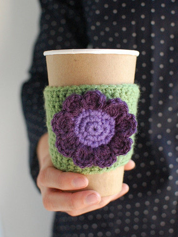 Cup Cozy, Coffee Cup Cozy, Crochet Coffee Sleeve, Reusable Coffee Cozy, Green with purple flower by The Cozy Project
