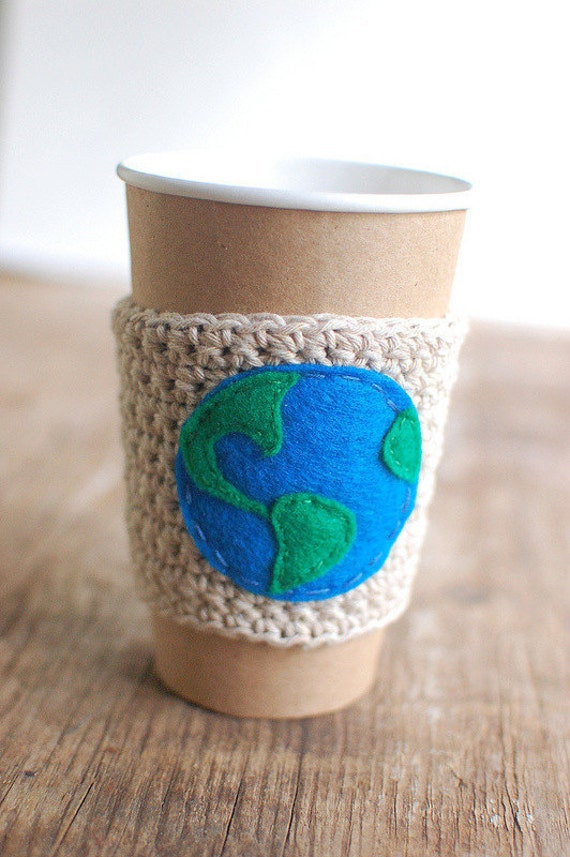 Earth Day cup cozy 75% recycled cotton by The Cozy Project